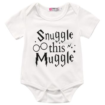 Snuggle This Muggle Harry Potter Inspired Baby Romper 2017 Summer Newborn Baby Clothes Short Sleeve Cotton Jumpsuit Outfit