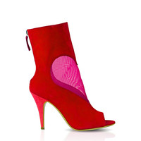 DEEVA Mesh Red Heart Ankle Boot