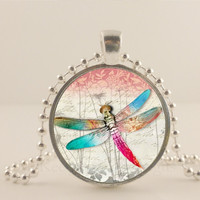 Pink, blue and white Dragonfly glass and metal Pendant necklace Jewelry.