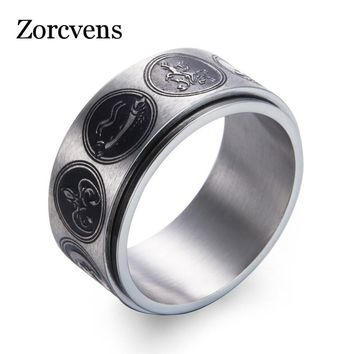 ZORCVENS 2018 New Fashion Punk Rock Stainless Steel Jewelry for Men Cool Game of Thrones Family emblem Ring Gifts