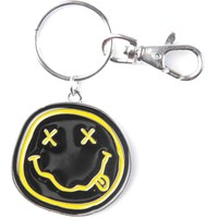 Nirvana Smiley Face Metal Key Chain Silver