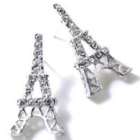 Silver Tone Sparkling Crystal Eiffel Tower Paris France Theme Stud Earrings for Teens and Women