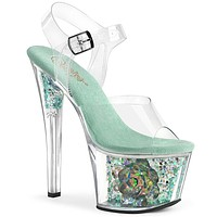 "Sky 309cf Aqua Blue Iridescent Glitter 7"" High Heel Sandals - ETA 2/13"