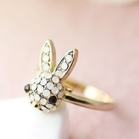 Bunny Ring Women's Girl's Crystal Rabbit Ring Jewelry Adjustable Ring Size Free
