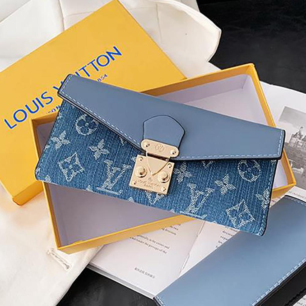 Image of Louis Vuitton LV Denim Embroidered Letters Flap Clutch Long Wallet