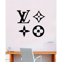Louis Vuitton Logo Pattern V3 Wall Decal Home Decor Bedroom Room Vinyl Sticker Art Quote Designer Brand Luxury Girls Cute Expensive LV