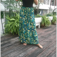 Maxi Skirt & Halter Bandeau Sundress Gypsy Dress Hippie Exotic Clothing Ethnic Boho Aztec For Beach Summer Thai Cloth Bikini Cover Up Women