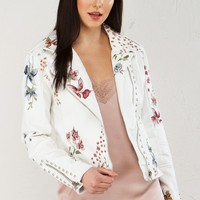 Embroidered Leather Jacket in White