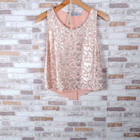 Sequin Open Back Blouse