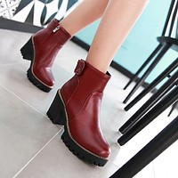 Zipper High Heels Platform Boots Zig-zag Sole 6688