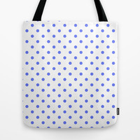 cute, modern, cool blue and white polka dots graphic pattern. Tote Bag by PatternWorld
