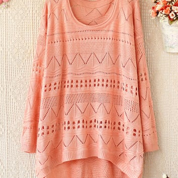 A 081903 u Loose round neck long-sleeved sweater hollow