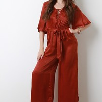 Satin Lace-Up Waist-Tie Wide Leg Jumpsuit