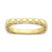 Sterling Silver Stackable Expressions Polished Gold-plate Square Ring: RingSize: 7