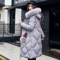 Dreamtach Brand Women Down Cotton Parkas Female Coat Jackets Hooded Fashion Casual Thick Plus Size Hooded Femme Coats Winter