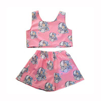 Skulls and Flower Print Top and Shorts Co-ordinate