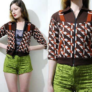60s Vintage GEOMETRIC Sweater JACKET Retro Brown Kitsch Op-Art Knit Knitted Zip Cardigan Crop Cropped Small Hippie 1960s vtg xxs xs