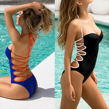Bikini push up Women One-Piece Swimsuit Bohemian   Beachwear Swimwear Monokini Bikini Bathing Costumi da bagno donna #E0