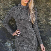 High Neck Grey Knitted Sweater Mini Dress