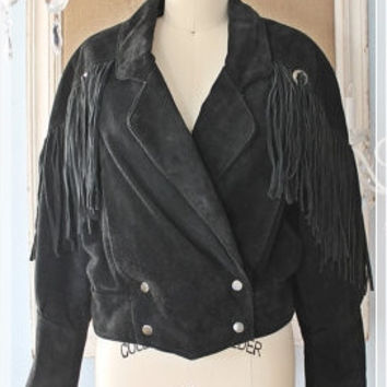 Vintage 80's Soft Suede • g4000 • Indian Fringe Cropped Biker Jacket
