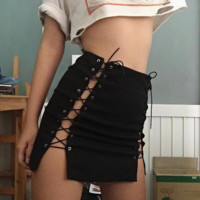 Fashion Sexy lace up type hollow splicing short skirts black