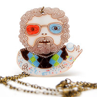 DR. JACOBY - Necklace with Pendant, shrink plastic, Twin Peaks
