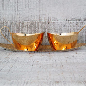 Brass Cream and Sugar Bowl Set Solid Brass Cream and Sugar Set with a Solid Brass Tray Vintage Brass Coffee Serving Set Wedding Gift