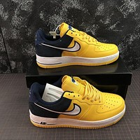 Nike Air Force 1 AF1 Low Two Tongue Logo Yellow Black Shoes