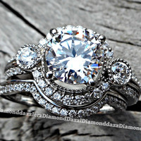 3pc Vintage Estate Style Solid .925 Sterling Silver Round Halo Simulated White Sapphire Engagement Ring Wedding Band Set Women's 5,6,7,8,9