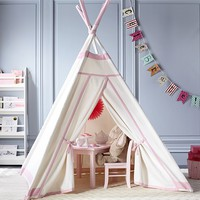 White with Pink Trim Teepee