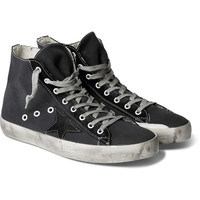 Golden Goose Deluxe Brand - Francy Distressed Canvas and Suede Sneakers | MR PORTER