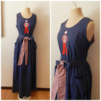 Vintage 50s Denim Chambray Embroidered Full Length Maxi Rear Wrap Dress Small