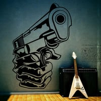 Wall Decor Vinyl Sticker Room Decal Hand Gun Gunpoint Pistol Handgun Roscoe  Weapon Arms Gangster Danger Power Force Strenght Energy (s117)