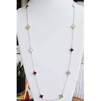 Clover on Chain with Stone Trim Necklace
