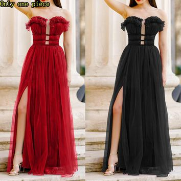 Fashionable sleeveless chest-wiping dress Sexy waist-strapped bridesmaid dress long skirt