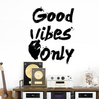 Wall Decal Vinyl Sticker Art Decor Design Only Good Vibes Sign Victory Lettering Motivational Bedroom Dorm M1586 Maden in USA