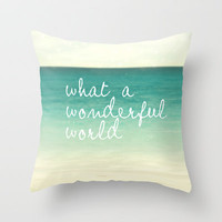 wonderful world Throw Pillow by Sylvia Cook Photography