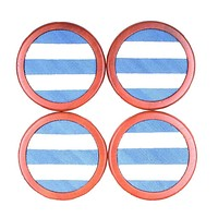 Repp Stripe Needlepoint Coasters in Blue and White by Smathers & Branson