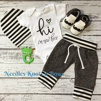 Baby Boys Onesuit, Boys Coming Home Outfit, Newborn Clothes / Outfit, Baby Gift, Jogger Outfit