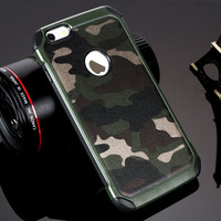 2in1 Armor Plastic+TPU Army Camo Camouflage Cover for iPhone 6 6S 6plus 6S plus 7 7Plus 5 5S SE Shockproof Angle Phone Cases