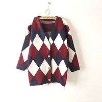 Argyle Patterned Sleeve Button Cardigan