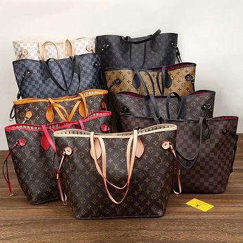 LV Louis Vuitton Monogram Canvas Neverfull GM Shopping Bag Shoulder Bag Wallet Two-Piece Set