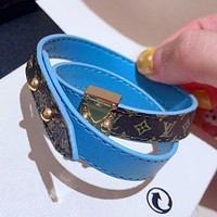 LV Louis Vuitton Trending Women Men Stylish Double Circle Leather Stainless Steel Hand Catenary Bracelet Coffee/Blue I-KMG-NPSL
