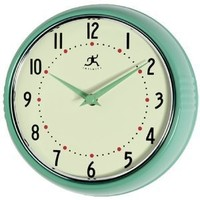 Infinity Instruments Retro 9-1/2-Inch Round Metal Wall Clock, Green