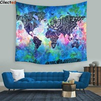 Cilected 148x148cm Polyester World Map Tapestry Wall Hanging Indian Mandala Throw Blanket Mat Home Room Dorm Art Wall Tapestry