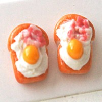 Bacon and Egg Bread Toast Stud Earrings