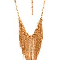 FOREVER 21 Chain Fringe Necklace Gold One