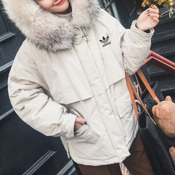 """""""Adidas"""" Women Loose Solid Color Fashion Cardigan Long Sleeve Fur Collar Hooded Cotton-padded Clothes Thickened Coat"""