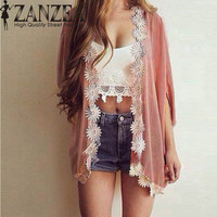 Summer New Floral Batwing Boho Kimono Cardigan Lace