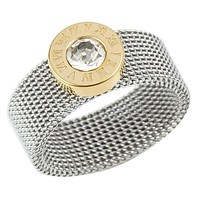 2 Tone Gold & Silver Color Stainless Steel Mesh Ring with Roman Numerals